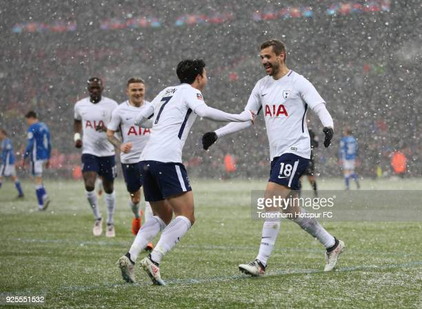 Fernando Llorente of Tottenham Hotspur celebrates scoring the fourth goal with HeungMin Son during the Emirates FA Cup Fifth Round Replay match...