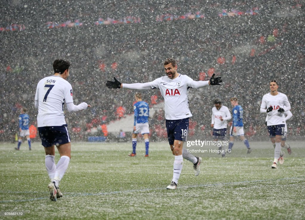 Fernando Llorente of Tottenham Hotspur celebrates scoring the fourth goal with Heung-Min Son during the Emirates FA Cup Fifth Round Replay match between Tottenham Hotspur and Rochdale at Wembley Stadium on February 28, 2018 in London, United Kingdom.