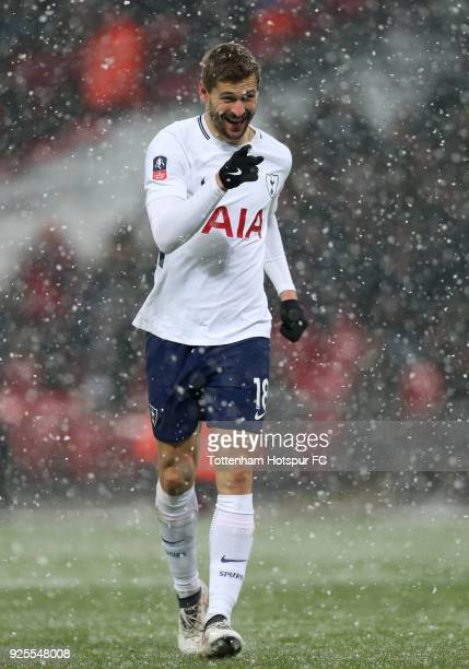 Fernando Llorente of Tottenham Hotspur celebrates scoring the third goal during the Emirates FA Cup Fifth Round Replay match between Tottenham...