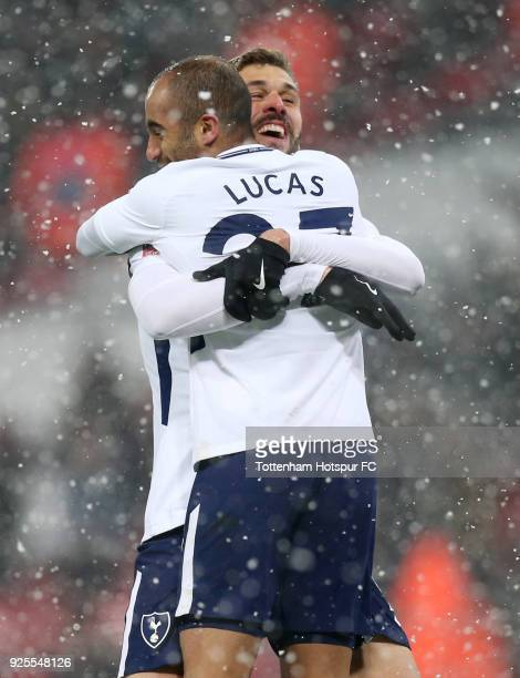 Fernando Llorente of Tottenham Hotspur celebrates scoring the third goal with Lucas Moura during the Emirates FA Cup Fifth Round Replay match between...