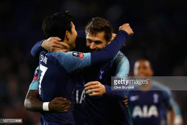 Fernando Llorente of Tottenham Hotspur celebrates with team mate HeungMin Son after scoring their team's second goal during the FA Cup Third Round...