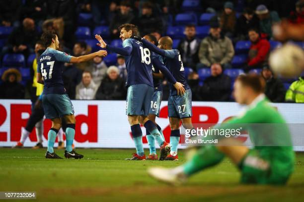 Fernando Llorente of Tottenham Hotspur celebrates with teammates after scoring their team's sixth goal during the FA Cup Third Round match between...