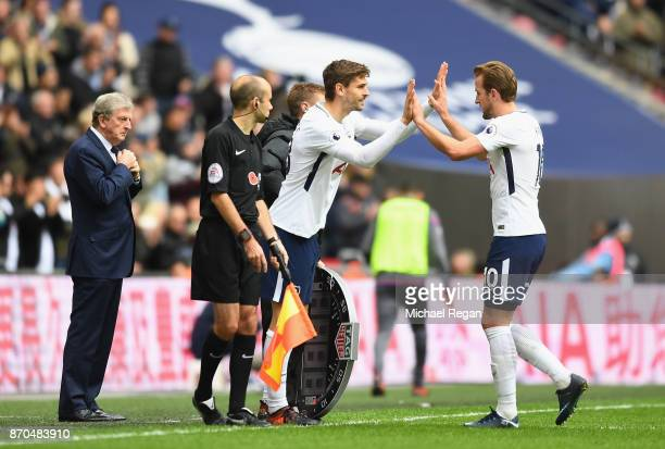 Fernando Llorente of Tottenham Hotspur comes on for Harry Kane of Tottenham Hotspur during the Premier League match between Tottenham Hotspur and...