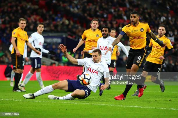 Fernando Llorente of Tottenham Hotspur in action with Joss Labadie of Newport County during the Emirates FA Cup Fourth Round Replay between Tottenham...