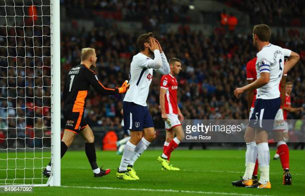Fernando Llorente of Tottenham Hotspur reacts during the Carabao Cup Third Round match between Tottenham Hotspur and Barnsley at Wembley Stadium on...