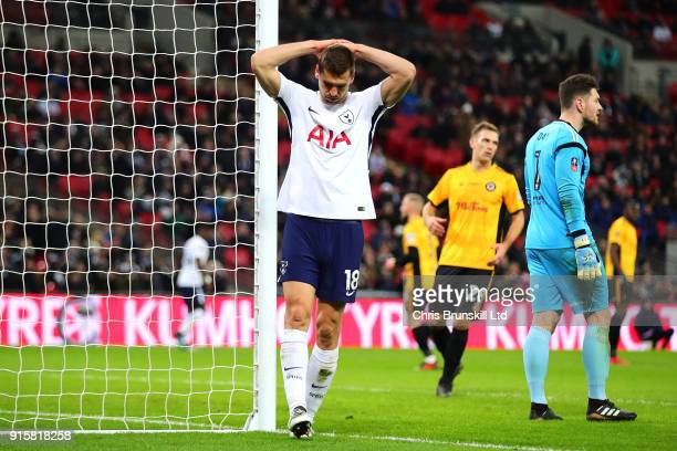 Fernando Llorente of Tottenham Hotspur reacts during the Emirates FA Cup Fourth Round Replay between Tottenham Hotspur and Newport County at Wembley...