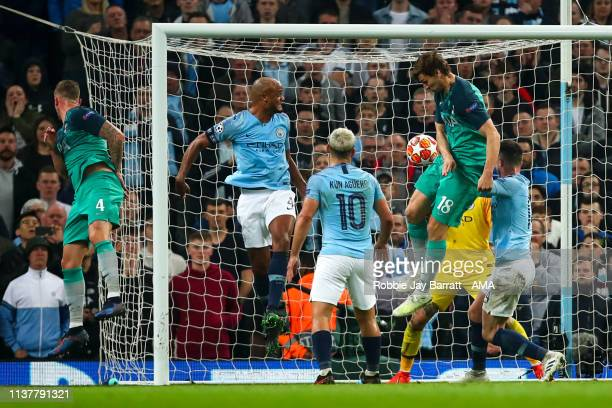 Fernando Llorente of Tottenham Hotspur scores a goal to make it 43 during the UEFA Champions League Quarter Final second leg match between Manchester...