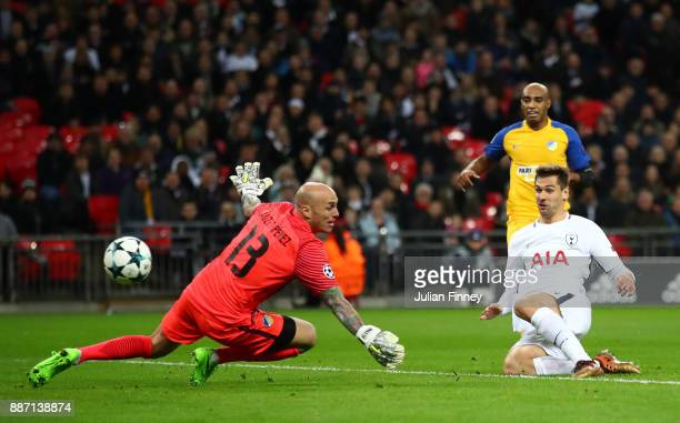 Fernando Llorente of Tottenham Hotspur scores his sides first goal past Nauzet Perez of Apoel FC during the UEFA Champions League group H match...