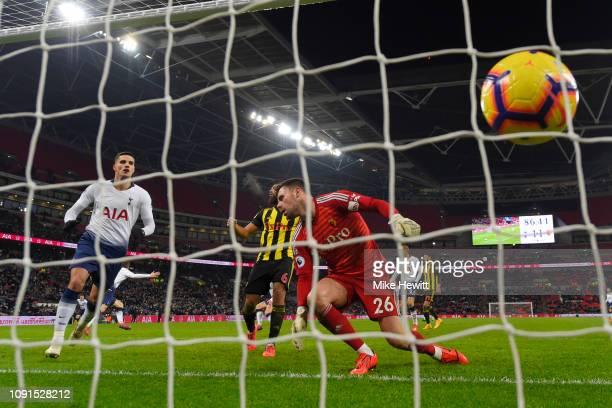 Fernando Llorente of Tottenham Hotspur scores his team's second goal past Ben Foster of Watford during the Premier League match between Tottenham...