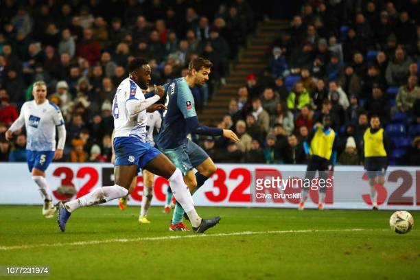 Fernando Llorente of Tottenham Hotspur scores his team's sixth goal past Manny Monthe of Tranmere Rovers during the FA Cup Third Round match between...