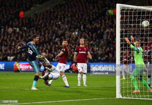 Fernando Llorente of Tottenham Hotspur scores his team's third goal during the Carabao Cup Fourth Round match between West Ham United and Tottenham...