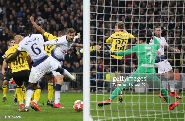 Fernando Llorente of Tottenham Hotspur scores his team's third goal during the UEFA Champions League Round of 16 First Leg match between Tottenham...