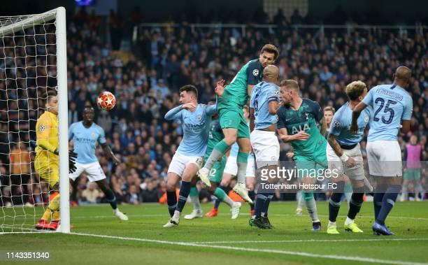Fernando Llorente of Tottenham Hotspur scores his team's third goal during the UEFA Champions League Quarter Final second leg match between...