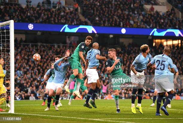 Fernando Llorente of Tottenham Hotspur scores his team's third goal during the UEFA Champions League Quarter Final second leg match between...