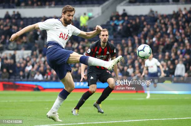 Fernando Llorente of Tottenham Hotspur shoots and hits the bar during the Premier League match between Tottenham Hotspur and Huddersfield Town at the...