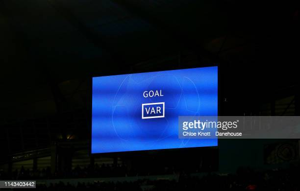 Fernando Llorente of Tottenham Hotspur's goal is awarded as onside by VAR during the UEFA Champions League Quarter Final second leg match between...