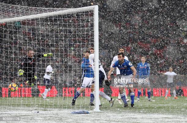 Fernando Llorente of Tottenham scores his team's fourth goal of the game during The Emirates FA Cup Fifth Round Replay match between Tottenham...