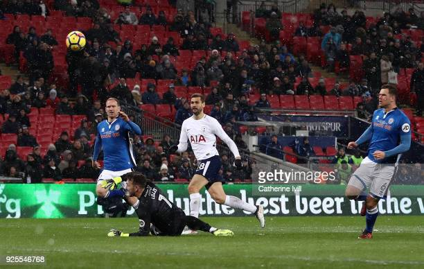Fernando Llorente of Tottenham scores his team's second goal of the game during The Emirates FA Cup Fifth Round Replay match between Tottenham...