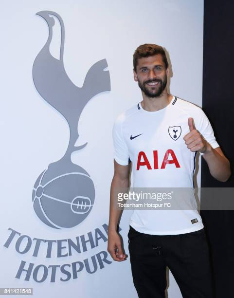 Fernando Llorente poses at the Tottenham Hotspur FC via Getty Images training ground after signing for Tottenham Hotspur on August 31 2017 in Enfield...