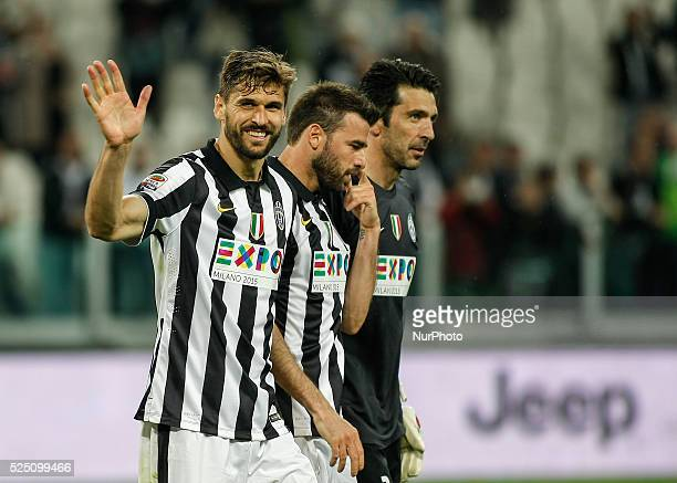 Fernando LlorenteAndrea Barzagli and Gigi Buffon at the end of the serie A match between Juventus FC and ACF Fiorentina at the Juventus Stafium of...