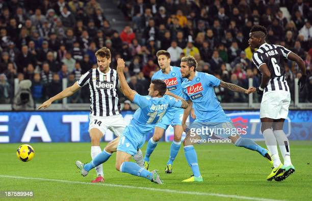 Fernando Lorente of Juventus scores the opening goal during the Serie A match between Juventus and SSC Napoli at Juventus Arena on November 10 2013...