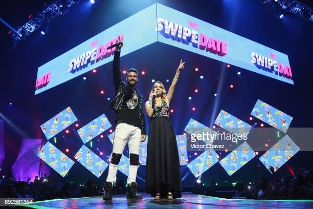 Fernando Lozada and YosStop speak on stage during the MTV MIAW Awards 2017 at Palacio de Los Deportes on June 3 2017 in Mexico City Mexico