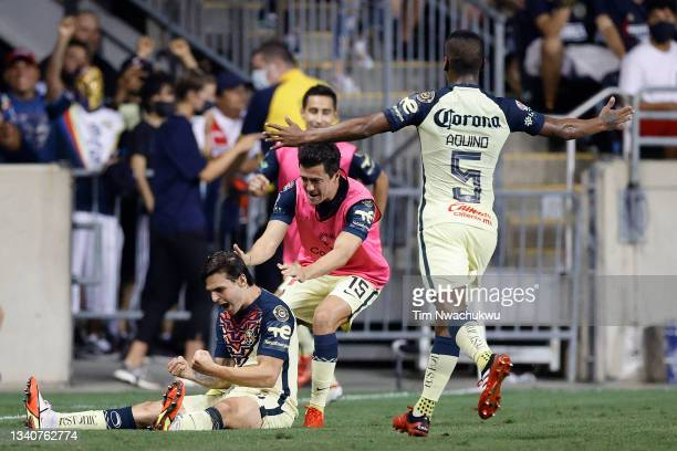 Fernando Madrigal and Pedro Aquino of Club America celebrate with Nicolás Benedetti following Benedetti's goal against Philadelphia Union during the...