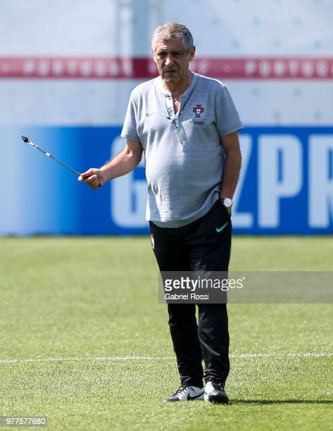 Fernando Manuel Costa Santos coach of Portugal looks on prior the training session at Saturn Training Center on June 18, 2018 in Kratovo, Russia.