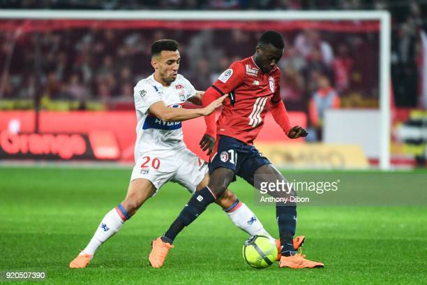Fernando Marcal of Lyon and Nicolas Pepe of Lille during the Ligue 1 match between Lille OSC and Olympique Lyonnais at Stade Pierre Mauroy on...