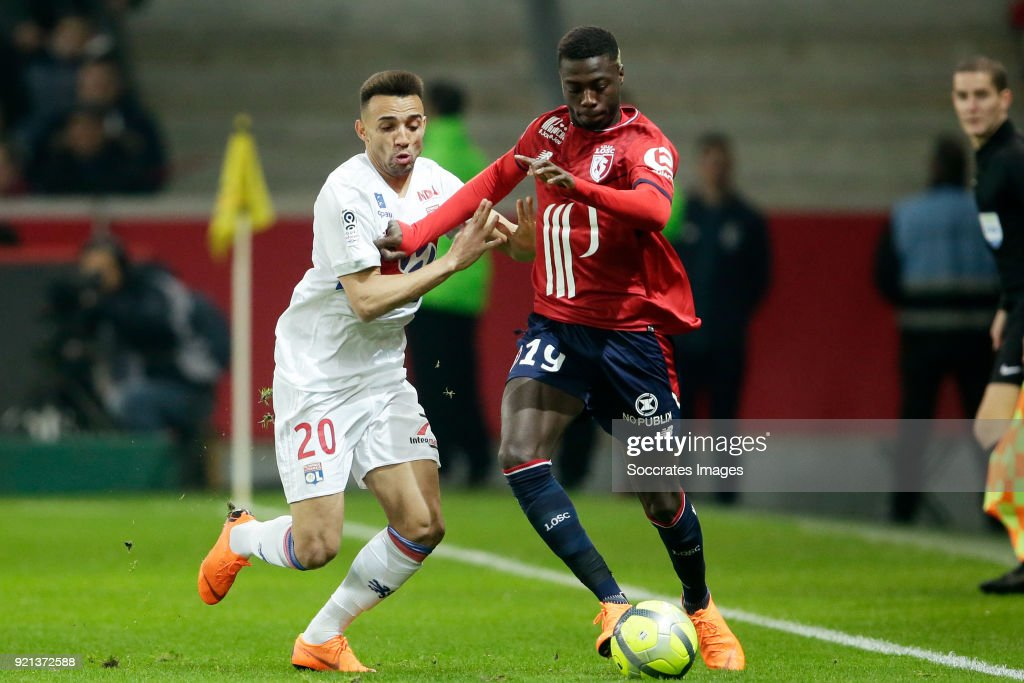 Fernando Marcal of Olympique Lyon, Nicolas Pepe of Lille during the French League 1 match between Lille v Olympique Lyon at the Stade Pierre Mauroy on February 18, 2018 in Lille France
