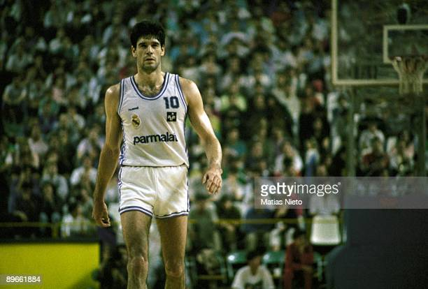 Fernando Martin, basketball player of the Real Madrid, at a match
