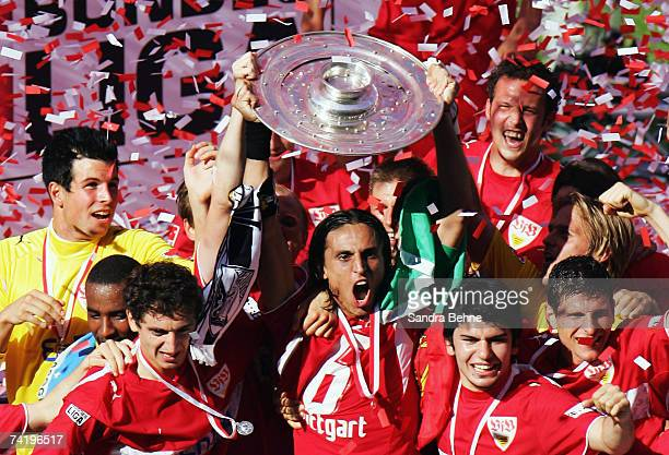 Fernando Meira of VfB Stuttgart celebrates with the trophy winning the German championships after the Bundesliga match against Energie Cottbus at the...