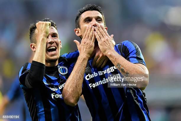 Fernando Menegazzo of Club Brugge celebrates scoring a goal with teammate Waldemar Sobota of Club Brugge during the UEFA Europa League, third...