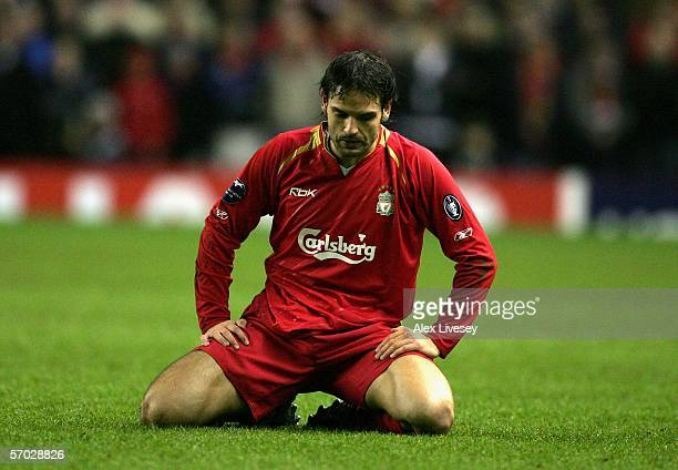 Fernando Morientes of Liverpool looks dejectedly at the turf during the last 16 2nd leg UEFA Champions League match between Liverpool and Benfica at...