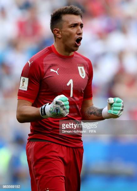 Fernando Muslera of Uruguay celebrates his team's first goal during the 2018 FIFA World Cup Russia group A match between Uruguay and Russia at Samara...