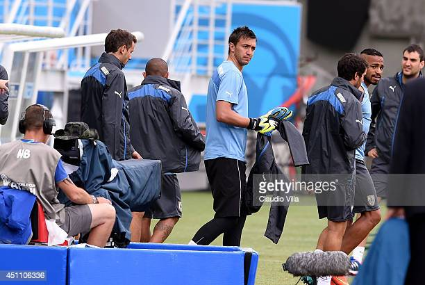 Fernando Muslera of Uruguay during a training session at the Dunas Arena in Natal on June 23 2014 in Natal Brazil