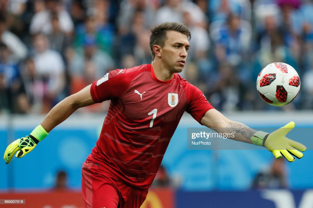 Fernando Muslera of Uruguay national team in action during the 2018 FIFA World Cup Russia Quarter Final match between Uruguay and France on July 6, 2018 at Nizhny Novgorod Stadium in Nizhny Novgorod, Russia.