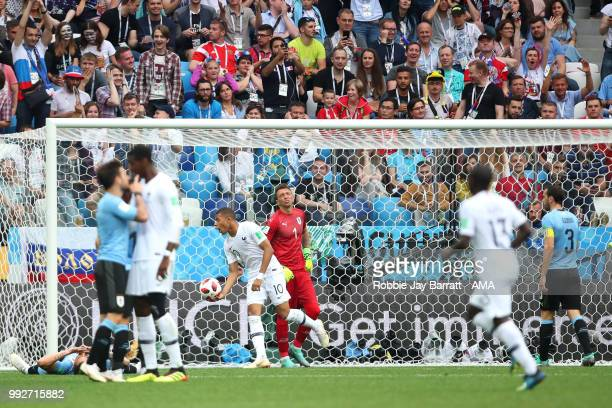 Fernando Muslera of Uruguay reacts after Antoine Griezmann of France scored a goal to make it 02 during the 2018 FIFA World Cup Russia Quarter Final...