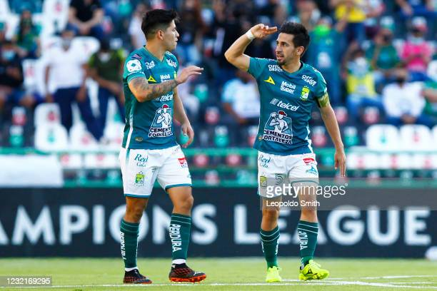 Fernando Navarro of Leon celebrates after scoring the first goal of his team during a first leg match of round of sixteen between Leon and Toronto as...