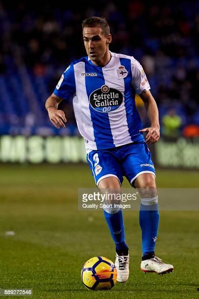 Fernando Navarro of Deportivo de La Coruna in action during the La Liga match between Deportivo La Coruna and Leganes at Abanca Riazor Stadium on...
