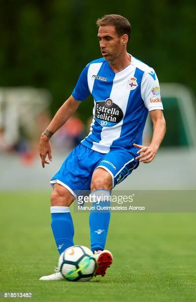 Fernando Navarro of Deportivo de La Coruna in action during the preseason friendly match between Cerceda and Deportivo de La Coruna at O Roxo Stadium...
