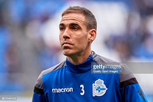 Fernando Navarro of Deportivo de La Coruna looks on prior to the La Liga match between Deportivo La Coruna and Levante at Abanca Riazor Stadium on...