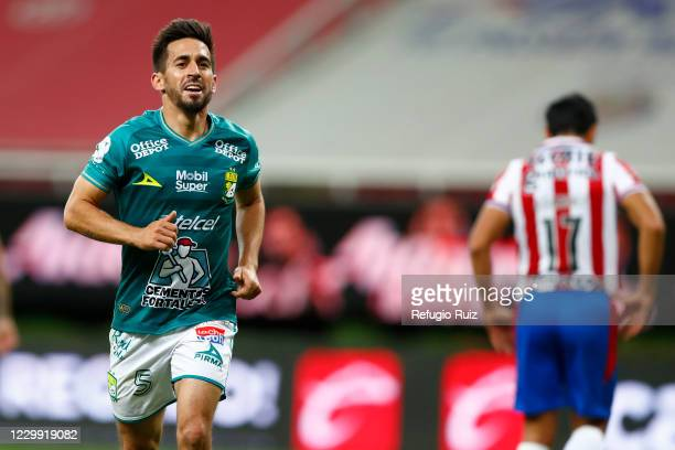 Fernando Navarro of Leon celebrates after scoring the first goal of his team during the semifinal first leg match between Chivas and Leon as part of...
