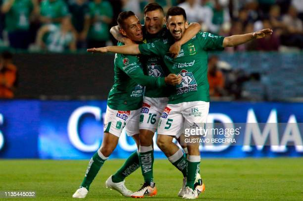 Fernando Navarro of Leon celebrates his goal against Necaxa during the Mexican Clausura 2019 tournament football match at the Nou Camp stadium in...