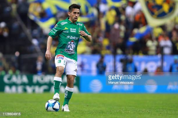 Fernando Navarro of Leon controls the ball during the 6th round match between America and Leon as part of the Torneo Clausura 2019 Liga MX at Azteca...