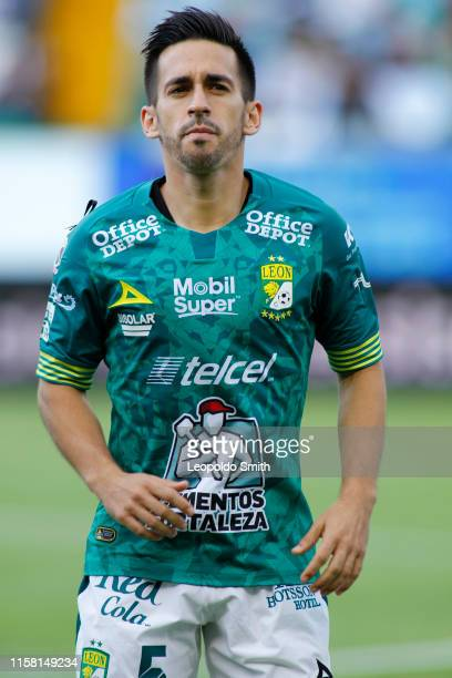 Fernando Navarro of Leon looks on prior the 2nd round match between Leon and America as part of the Torneo Apertura 2019 Liga MX at Leon Stadium on...