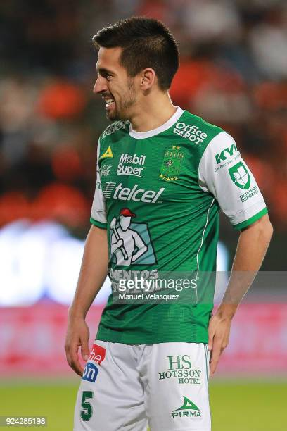 Fernando Navarro of Leon reacts after missing a chance to score during the 9th round match between Pachuca and Leon as part of the Torneo Clausura...