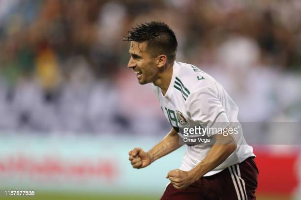 Fernando Navarro of Mexico celebrates 3rd goal during a group A match between Martinique and Mexico at Bank of America Stadium on June 23 2019 in...