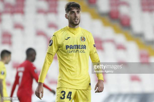 Fernando Nino of Villareal gestures during UEFA Europa League Group I match between Demir Grup Sivasspor and Villarreal at the 4 Eylul Stadium in...