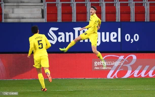 Fernando Nino of Villarreal celebrates after scoring their team's second goal during the La Liga Santander match between C.A. Osasuna and Villarreal...